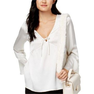 Kensie Womens Satin Knit Blouse