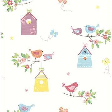 Brewster Birdhouses White Birds Wallpaper