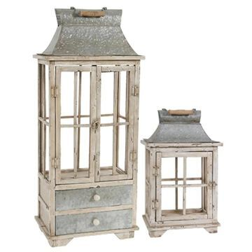 A&B Home 10.4-in x 36.6-in Distressed White Metal Pillar Candle Outdoor Decorative Lantern in Off-White | 32885