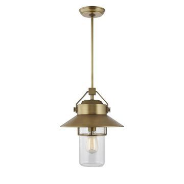 Feiss Boynton Painted Distressed Brass Transitional Clear Glass Lantern Pendant Light