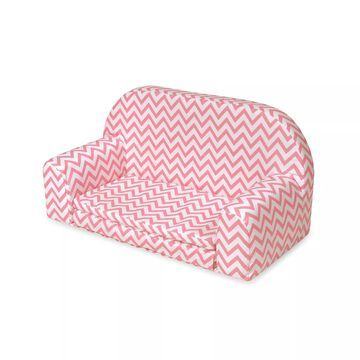 Badger Basket Pink Chevron Upholstered Doll Sofa with Foldout Bed