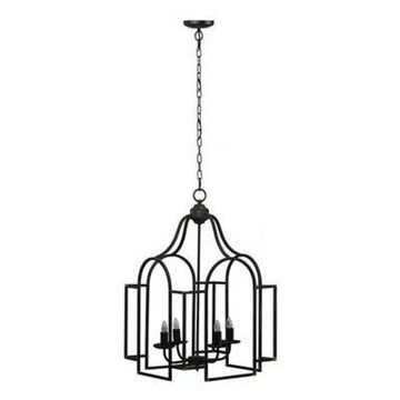 """A&B Home Malin 17"""" 4-Light Ceiling-Mount Chandelier In Black With Iron Shades"""
