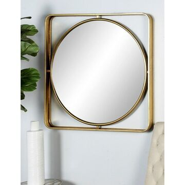 Modern 34 x 34 Inch Gold MDF and Iron Framed Wall Mirror by Studio 350
