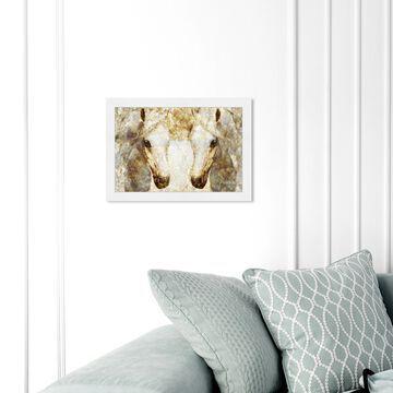 Oliver Gal 'Gold Stallions' Animals Framed Wall Art Prints Farm Animals - Gold, White