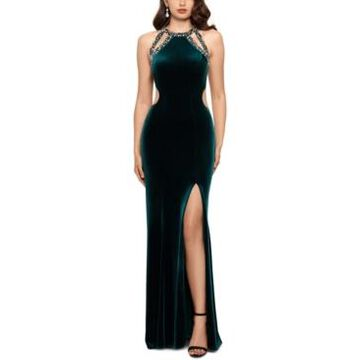 Betsy & Adam Strappy Sequined Velvet Gown