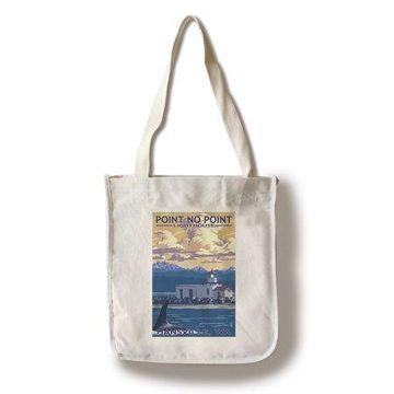 Hansville, Washington - Point No Point Lighthouse - Lantern Press Artwork (100% Cotton Tote Bag - Reusable)