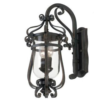 Kalco Hartford Outdoor 2-Light Small Wall Bracket in Antique Copper