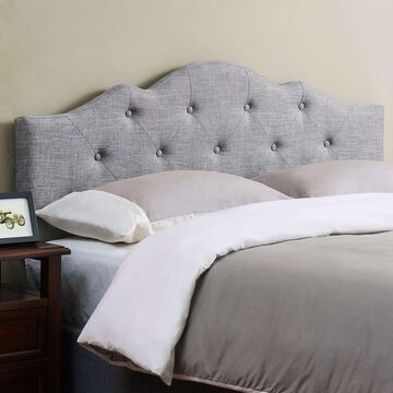 Headboard For King Size Bed Grey Rounded Modern Bedroom Furniture Round Gray New