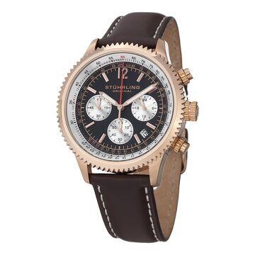Stuhrling Original Men's Quartz Chrono Monaco Leather Strap Watch
