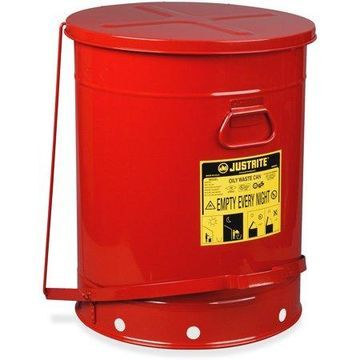 Justrite, JUS09700, Just Rite 21-Gallon Oily Waste Can, 1, Red