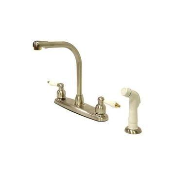 Kingston Brass Centerset Kitchen Faucet, Brushed Nickel/Polished Brass