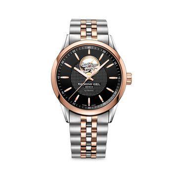 Silver & Rose Goldtone Stainless Steel Bracelet Watch