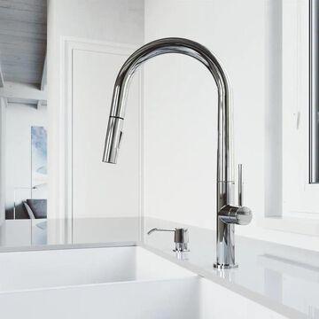 VIGO Greenwich Chrome 1-Handle Deck-Mount Pull-Down Handle Kitchen Faucet | VG02029CHK2