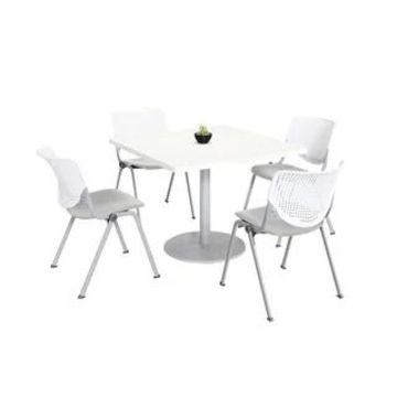 KFI KOOL Table & Chair set, White Table Top (42 inch table top - White/Light Grey)