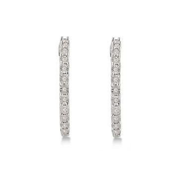 Divina Sterling Silver 1/5ct TDW Diamond Hoop Earrings