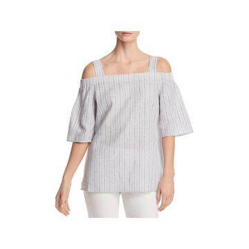 Lafayette 148 New York Womens Blouse Cold Shoulder Striped
