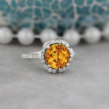 Auriya Vintage 3 1/10ct Fancy Citrine and Halo Diamond Engagement Ring 3/8ct Fancy 14k Gold