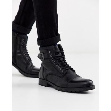 Jack & Jones leather lace up boots in black