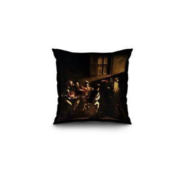 The Calling of Saint Matthew - Masterpiece Classic - Artist: Caravaggio c. 1599 (16x16 Spun Polyester Pillow, Black Border)