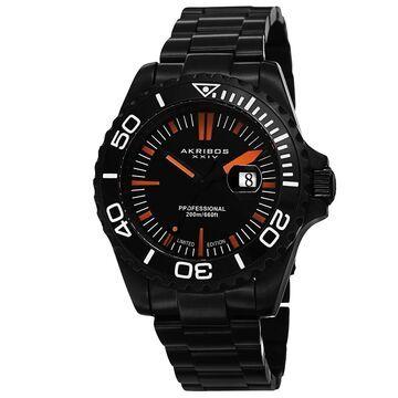 Akribos XXIV Men's Divers Quartz Date Black Bracelet Watch (Black)