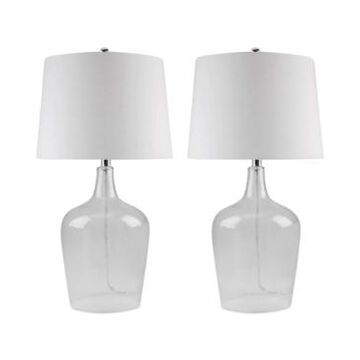 Abbyson Set of 2 Zen Clear Glass Table Lamps