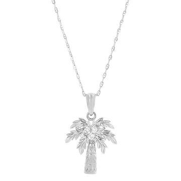14K White Gold 1/10ct. Diamond Palm Tree Neckalace