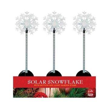 Alpine QLP232BB-12 Solar Snowflake Flashing Garden Stakes, Pack of 12