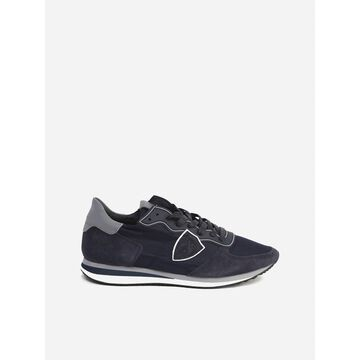 Philippe Model Trpx Veau Blue Sneaker In Suede And Nylon