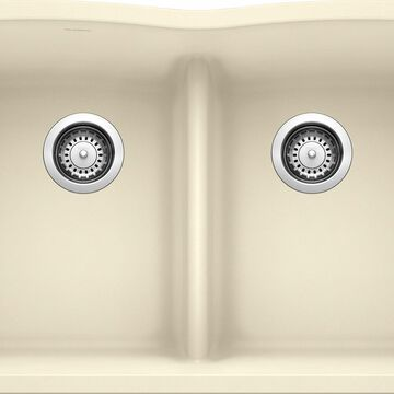 BLANCO Diamond Undermount 32-in x 19.25-in Biscuit (Off-white) Double Equal Bowl Kitchen Sink   442076