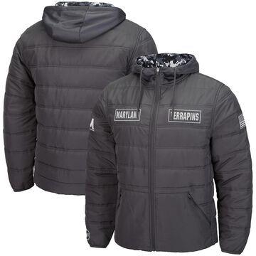 Men's Colosseum Charcoal Maryland Terrapins OHT Military Appreciation Digital Camo Detail Full-Zip Puffer Jacket