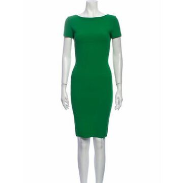 Bateau Neckline Knee-Length Dress Green