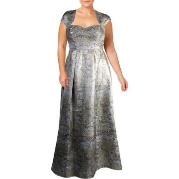 Aidan Mattox Womens Evening Dress Metallic Beaded