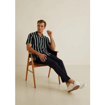 MANGO MAN - Striped flowy shirt dark navy - L - Men