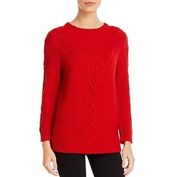 Karl Lagerfeld Paris Mixed Cable-Knit Sweater
