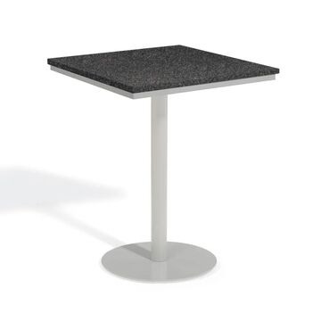 Oxford Garden Travira 32-inch Square Lite-Core Granite Charcoal Bar Table with Powder Coated Steel Frame