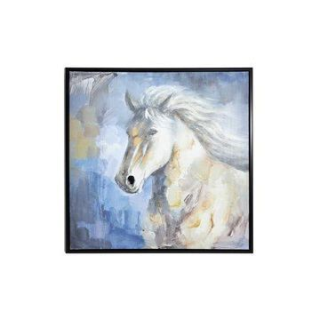 """DecMode 39.5"""" Large Square Blue, Gray & White Horse Painting in Black Frame"""