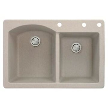 Transolid Aversa 33-in silQ Granite Drop-in Double Bowl Kitchen Sink (3 - Cafe Latte)