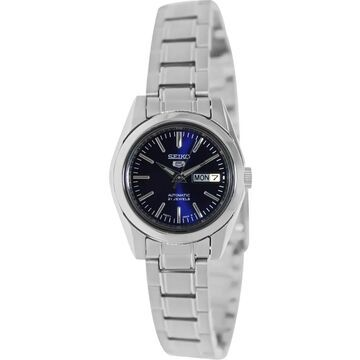 Seiko Women's 5 Automatic Silver Stainless Steel Automatic Watch with Blue Dial (SYMK15K)
