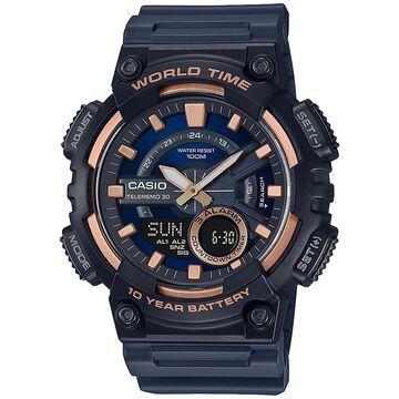 Casio Men's Solar Analog-Digital Black Resin Strap Watch 46.6mm