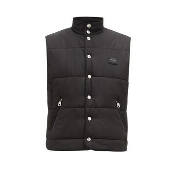 Dolce & Gabbana - Logo Plaque Quilted-shell Gilet - Mens - Black