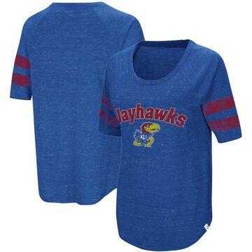 Women's Colosseum Royal Kansas Jayhawks Bean Babbitt Striped Raglan Half-Sleeve T-Shirt