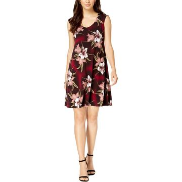 Connected Apparel Womens Jersey Floral Casual Dress