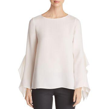Lafayette 148 New York Womens Catharina Silk Ruffle Sleeves Blouse