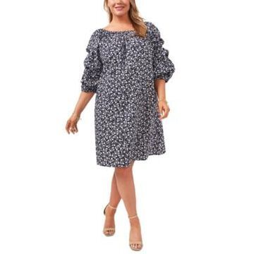 Msk Plus Size Cotton 3/4-Sleeve Printed Dress