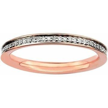Sterling Silver & Diamonds Pink-plated Ring