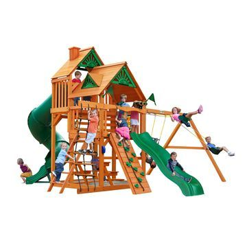 Gorilla Playsets Great Skye I Wooden Play Set with 2 Swing Set Slides