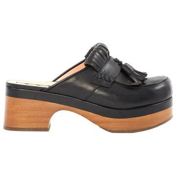 Rochas Black Leather Mules & Clogs
