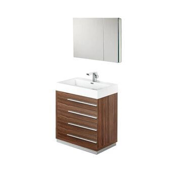 Fresca Senza 30-in Walnut Single Sink Bathroom Vanity with White Acrylic Top (Faucet Included) in Brown | FVN8030GW