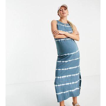 Mamalicious Maternity organic cotton jersey maxi dress in blue tie dye-Multi