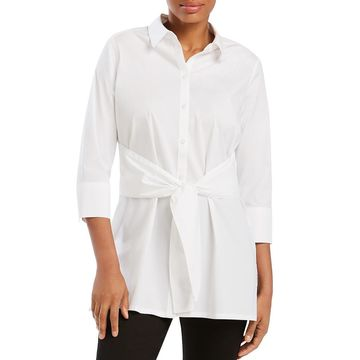 Foxcroft Womens Michaela Knot-Front Tunic Button-Down Top